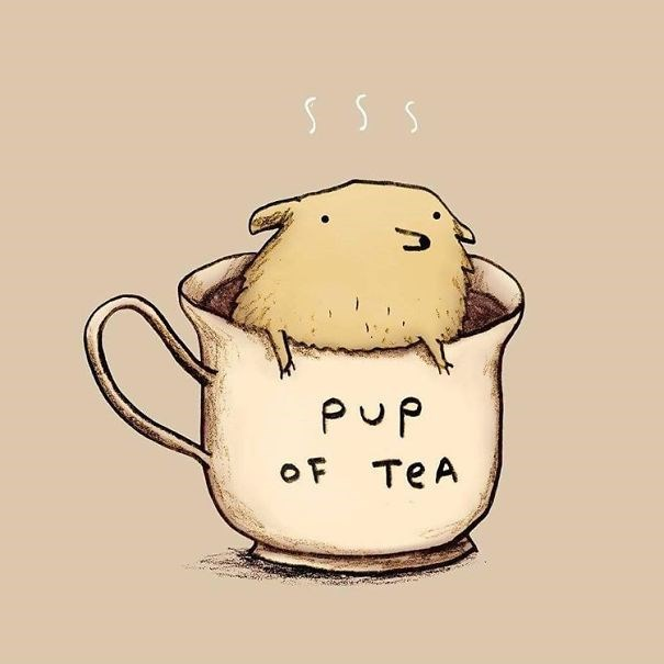 Pun cartoon of a puppy in a cup of tea marked as 'pup of tea'.