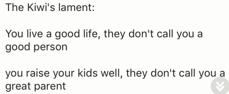 Text - The Kiwi's lament: You live a good life, they don't call you a good person you raise your kids well, they don't call you a great parent