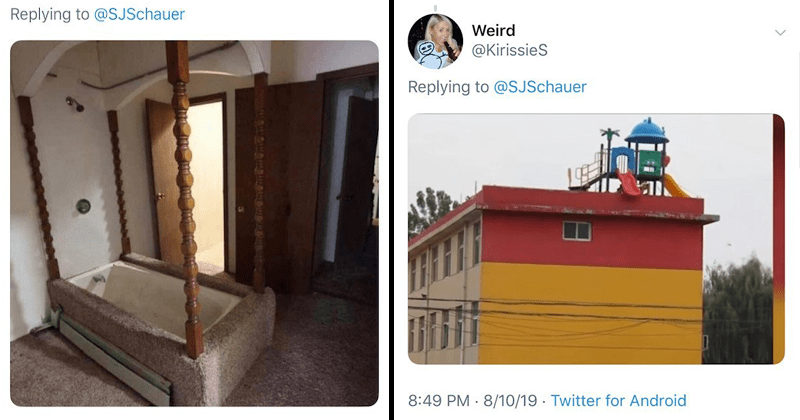 Cringeworthy twitter thread of architecture fails and design fails, carpeted bathrooms, toilets with threatening aura as well as urinals on staircases and inflatable bouncy castles in a cemetery. The gag reflex is real