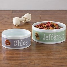 Food bowl for dog with his name on it.
