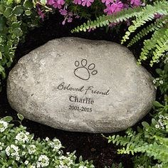Personalized pet memorial stone.
