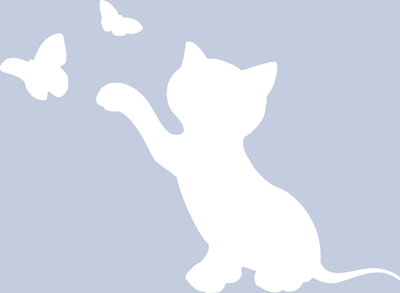 Facebook profile silhouette of cat swiping at butterflies.