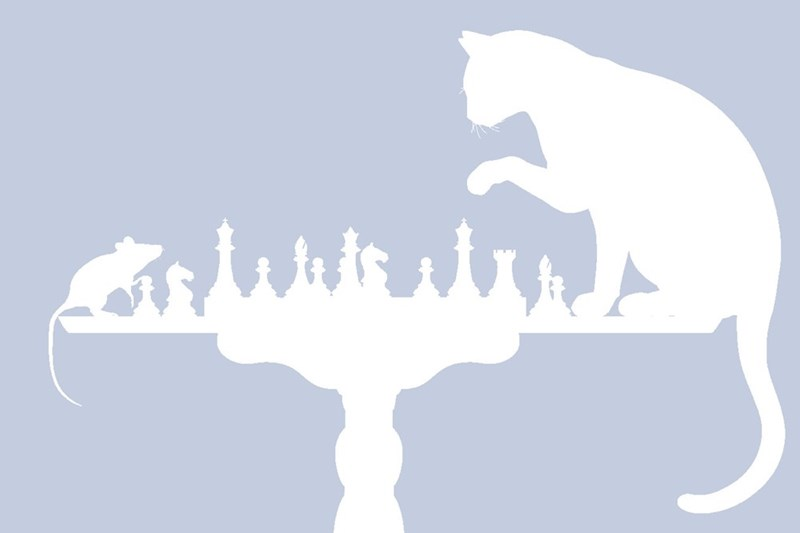 Facebook profile silhouette of a cat playing chess with a mouse.