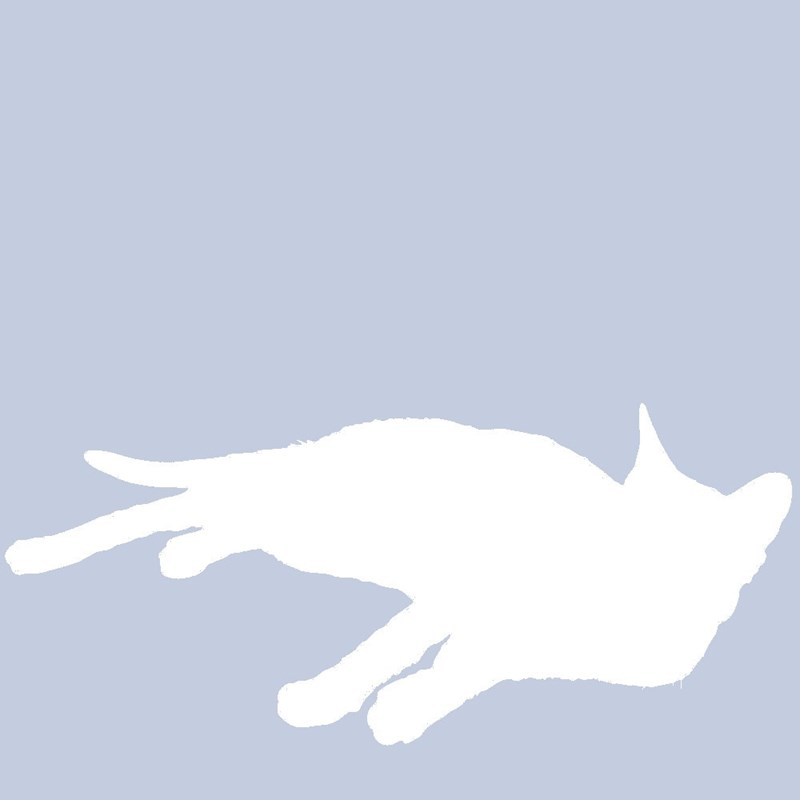 Profile silhouette of a cat for Facebook of a really lazy looking cat.