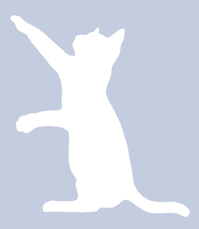 Facebook profile silhouette of a playful cat.