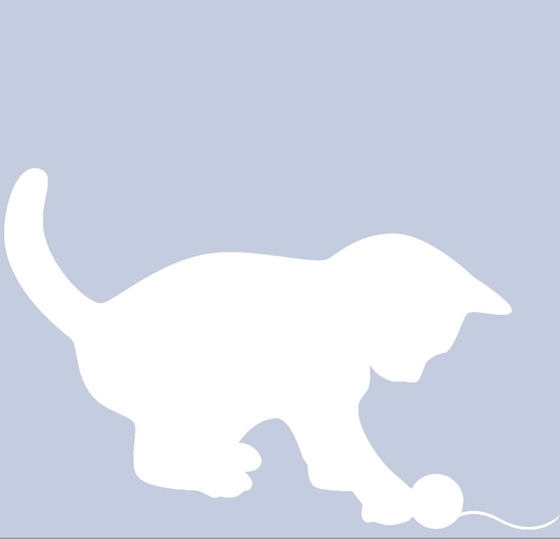 Facebook profile silhouette of a kitten playing with yarn.