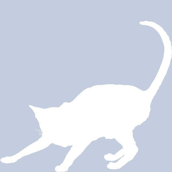 Lying down and lazy scrappy cat facebook profile silhouette.
