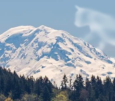 Super zoom in on the cloud that looks like a cat and the mountain that looks like a sleeping person.