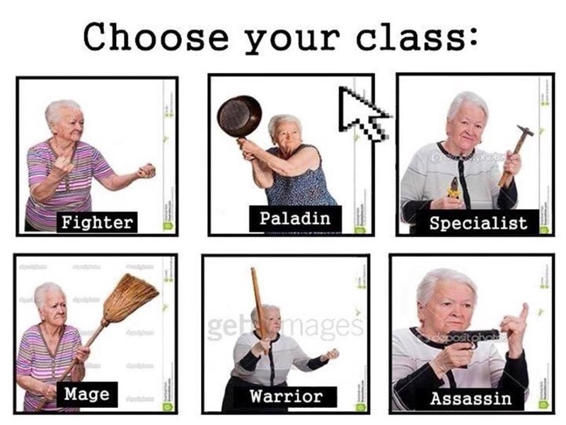 Series of grandmothers in different fighting classes.