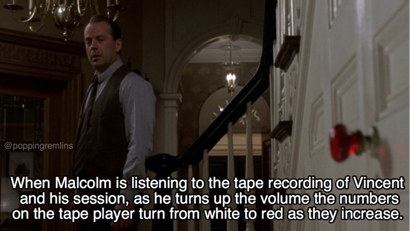 Photo caption - @poppingremlins When Malcolm is listening to the tape recording of Vincent and his session, as he turns up the volume the numbers on the tape player turn from white to red as they increase.