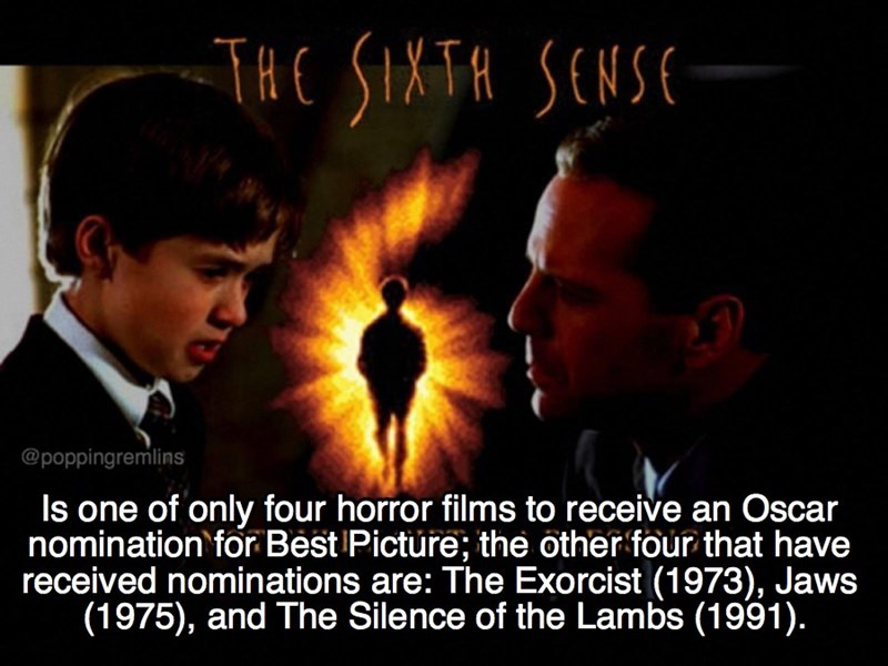 Photo caption - THE SIXTR SENSE @poppingremlins Is one of only four horror films to receive an Oscar nomination for Best Pictüre; the other four that have received nominations are: The Exorcist (1973), Jaws (1975), and The Silence of the Lambs (1991).