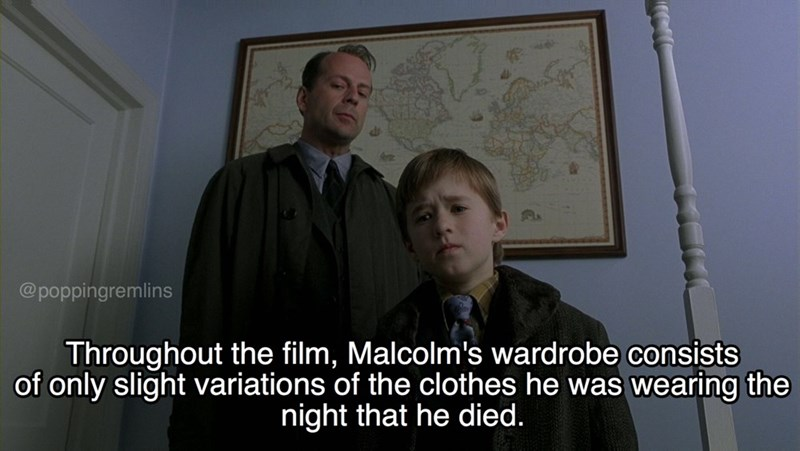 Photo caption - @poppingremlins Throughout the film, Malcolm's wardrobe consists of only slight variations of the clothes he was wearing the night that he died.