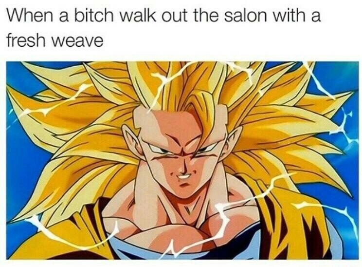 Cartoon - When a bitch walk out the salon with a fresh weave