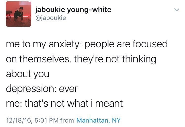 Twitter meme about anxiety and depression.