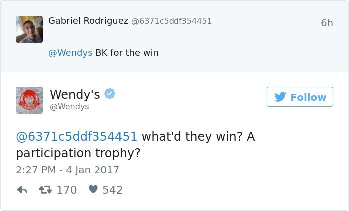 Text - Gabriel Rodriguez @6371c5ddf354451 6h @Wendys BK for the win Wendy's Follow @Wendys @6371c5ddf354451 what'd they win? A participation trophy? 2:27 PM 4 Jan 2017 t170 542