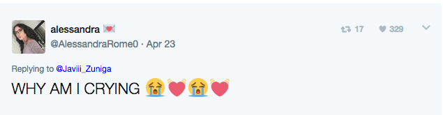 Text - alessandra t 17 329 @AlessandraRome0 Apr 23 Replying to @Javii_Zuniga WHY AM I CRYING