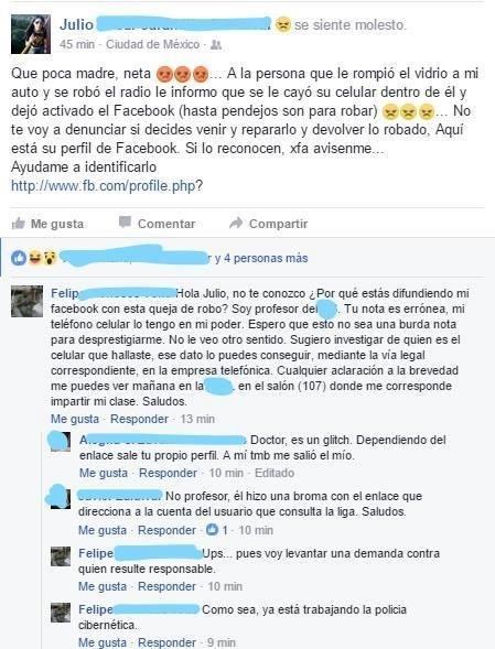 broma en facebook a profesor