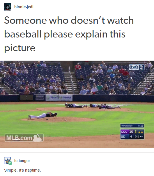 Someone explain this picture from a baseball game. There are several players lying down on the field. Someone responds that it is naptime.