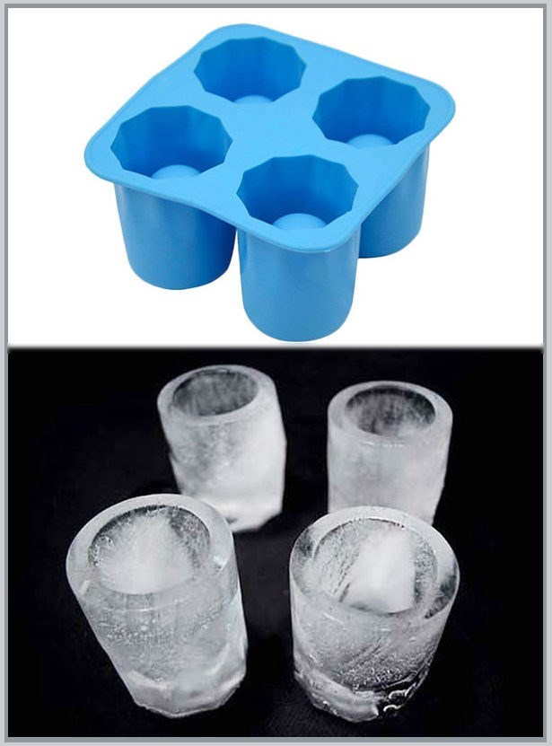 Shot glasses made from silicone ice tray for buying your cat a drink list article.