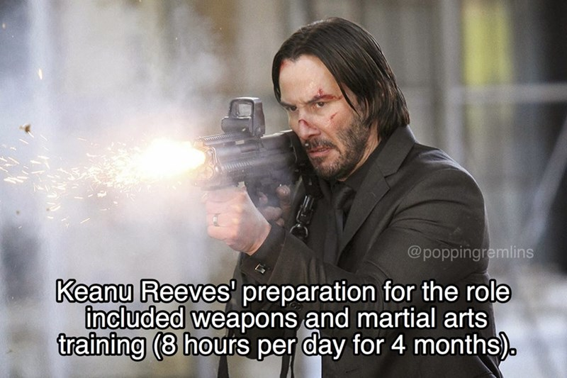 Photo caption - @poppingremlins Keanu Reeves' preparation for the role included weapons and martial arts training (8 hours per day for 4 months).
