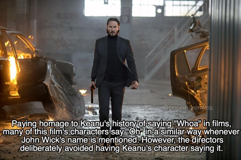 """Digital compositing - @poppingrerins Paying homage to Keanu's histony of saying """"Whoa in films, many of this film's.characters say """"Oh in a similar way whenever John Wick's name is mentioned. However, the directors deliberately avoided having Keanu's character saying it."""