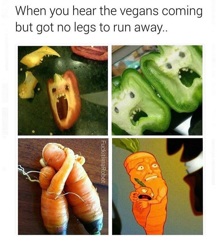 Photos of vegetables looking scared because they cannot run from vegans,