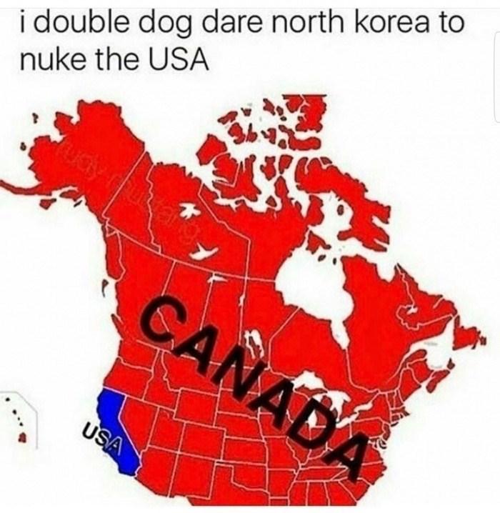 Map - i double dog dare north korea to nuke the USA udy futtahot CANADA USA