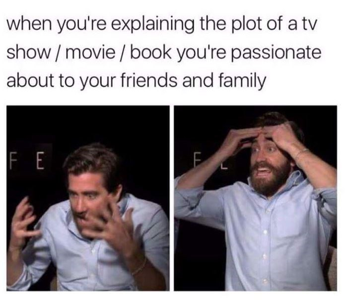 Facial expression - when you're explaining the plot of a tv show/ movie/ book you're passionate about to your friends and family FE