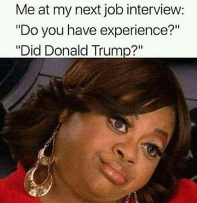 """Hair - Me at my next job interview: """"Do you have experience?"""" """"Did Donald Trump?"""""""