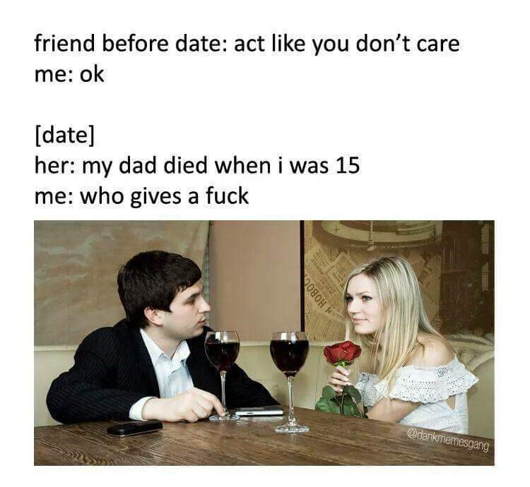 Thursday meme about pretending not to care about your date