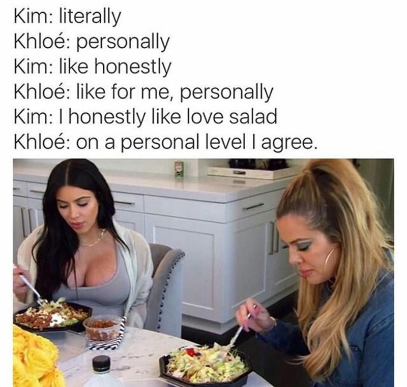 Thursday meme about the Kardashian sisters speech pattern