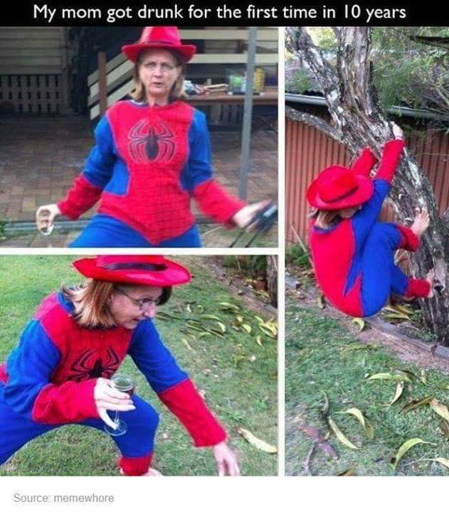 Thursday meme about drunk mom with pics of woman in a Spider Man suit