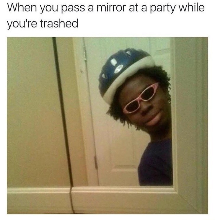 Thursday meme about seeing your reflection when drunk with pic of black man wearing a bike helmet and children's sunglasses