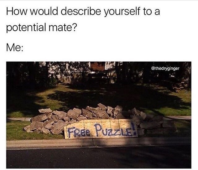 Thursday meme about trying to pass a pile of bricks for a puzzle