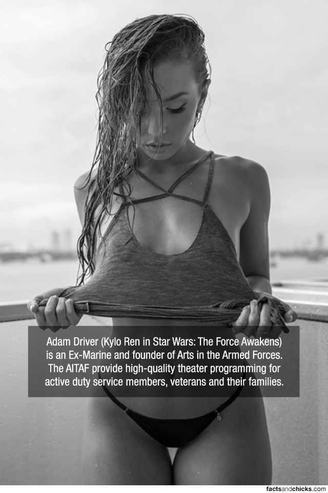 Photograph - Adam Driver (Kylo Ren in Star Wars: The Force Awakens) is an Ex-Marine and founder of Arts in the Armed Forces. The AITAF provide high-quality theater programming for active duty service members, veterans and their families. factsandchicks.com