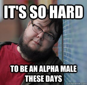 memes - Internet meme - ITS SO HARD TO BE AN ALPHA MALE THESE DAYS quickmeme.com