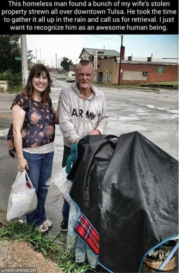 Adaptation - This homeless man found a bunch of my wife's stolen property strewn all over downtown Tulsa. He took the time to gather it all up in the rain and call us for retrieval. I just want to recognize him as an awesome human being. AR MY THEMETAPICTURE.COM