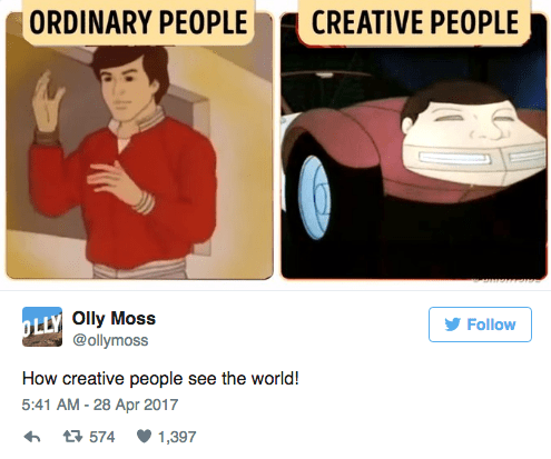 Text - ORDINARY PEOPLE CREATIVE PEOPLE Olly Moss @ollymoss OLLY Follow How creative people see the world! 5:41 AM -28 Apr 2017 1,397 t574