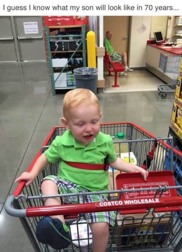 Shopping cart - I guess I know what my son will look like in 70 years... COSTCO WHOLESALE