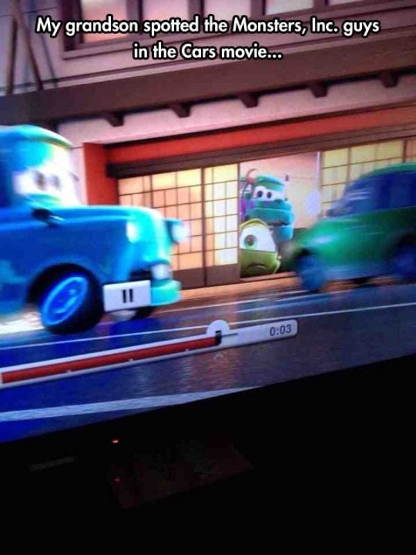 Vehicle - My grandson spotted the Monsters, Inc. guys in the Cars movie... II 0:03