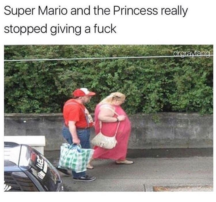Funny picture of Princess Peach and Mario not looking so good in their old age.