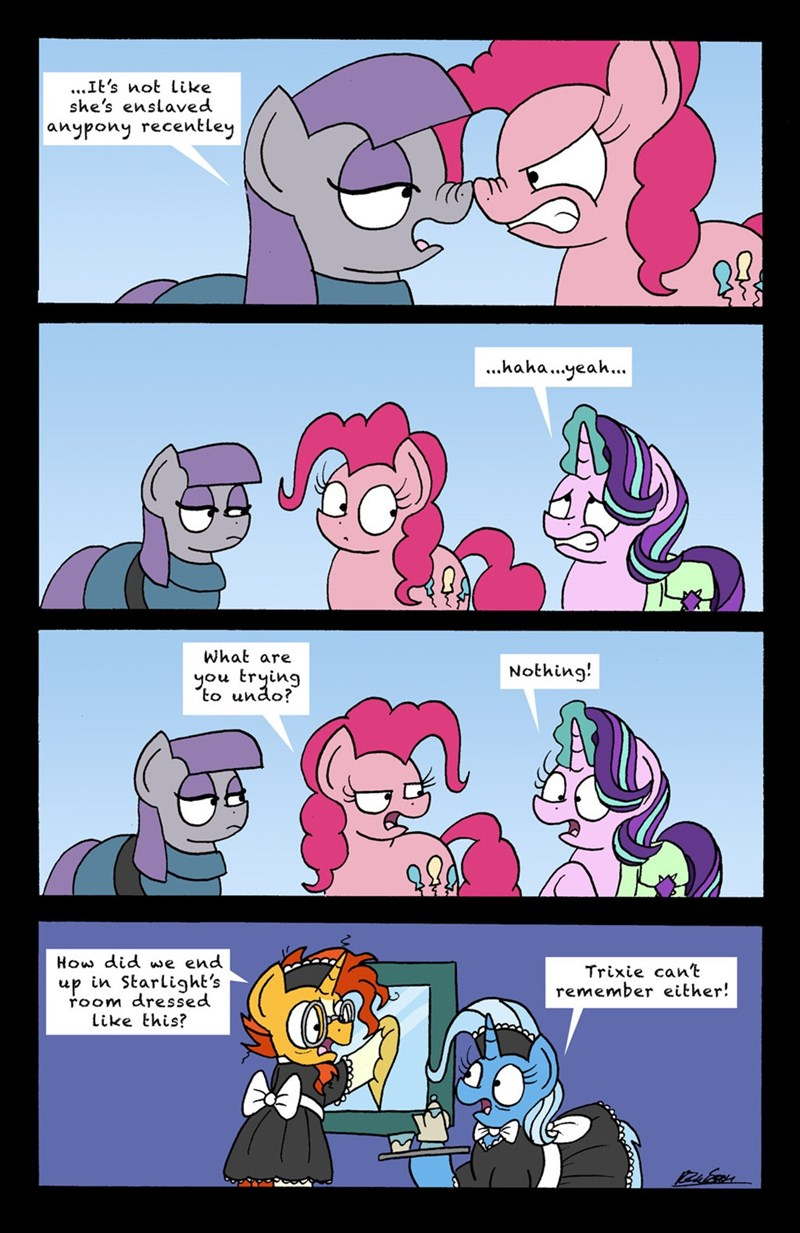 the great and powerful trixie sunburst bob the dalek starlight glimmer pinkie pie comic maud pie rock solid friendship - 9030878720