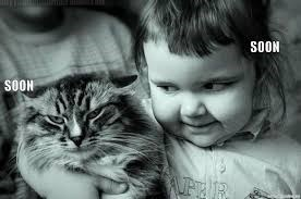 Funny meme in which a cat and a kid seem to be implying that soon they will get even.