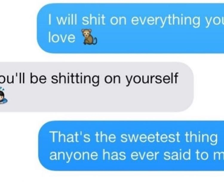 Couple texting, woman says if man shits on everything she loves he willl shit on himself.