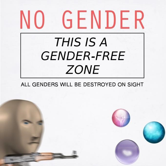 Text - NO GENDER THIS IS A GENDER-FREE ΖΟNE ALL GENDERS WILL BE DESTROYED ON SIGHT