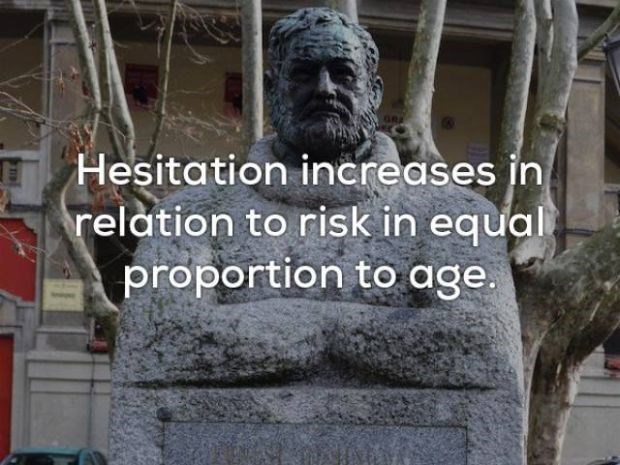 Sculpture - GR Hesitation increases in relation to risk in equal proportion to age.