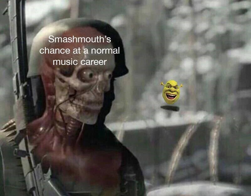 Soldier represents Smash Mouth's chance at a normal music career, bullet represents the film Shrek, ruining this chance.