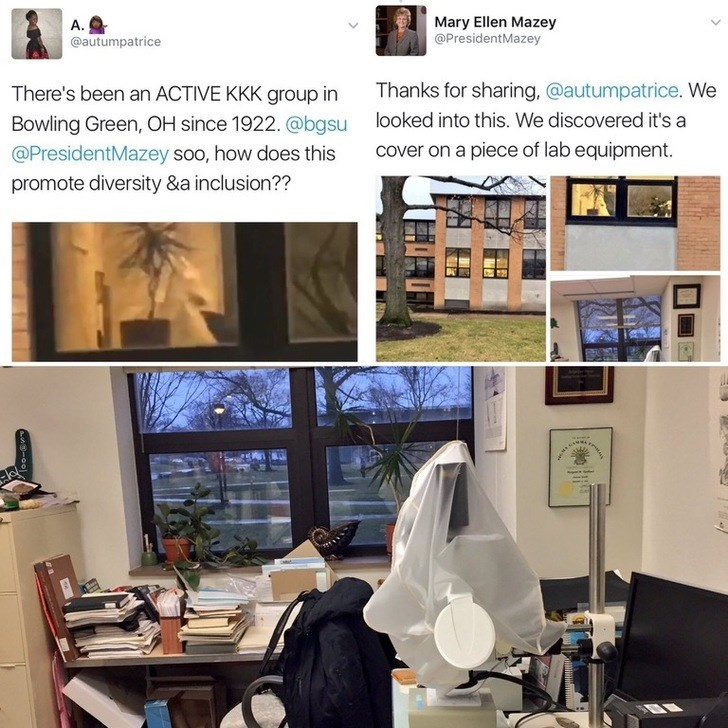 Room - Mary Ellen Mazey @PresidentMazey A. @autumpatrice Thanks for sharing, @autumpatrice. We There's been an ACTIVE KKK group in looked into this. We discovered it's a Bowling Green, OH since 1922. @bgsu cover on a piece of lab equipment. @PresidentMazey soo, how does this promote diversity &a inclusion??