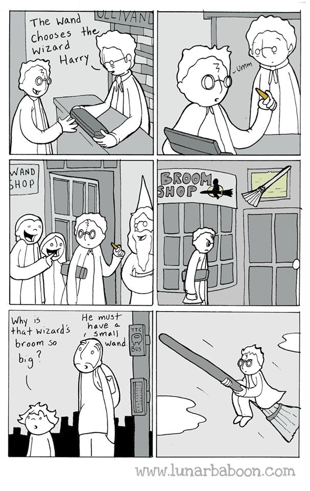 Cartoon - The wandLLIVAN chooses the Wizard Harry Umm WAND БНОР BROOM SHOP Why is that wizard's broom so He must have a Small wand BUS TTC www.lunarbaboon.com