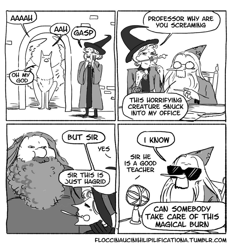 Cartoon - AAAAH PROFES5OR WHY ARE You SCREAMING AAH GASP OH MY GOD THIS HORRIFYING CREATURE SNUCK INTO MY OFFICE BUT SIR KNOW YES SIR HE 15 A GOOD TEACHER SIR THIS IS SUST HAGRID CAN SOMEBODY TAKE CARE OF THIS MAGICAL BURN FLOCCINAUCINIHILIPILIFICATIONA.TUMBLR.COM